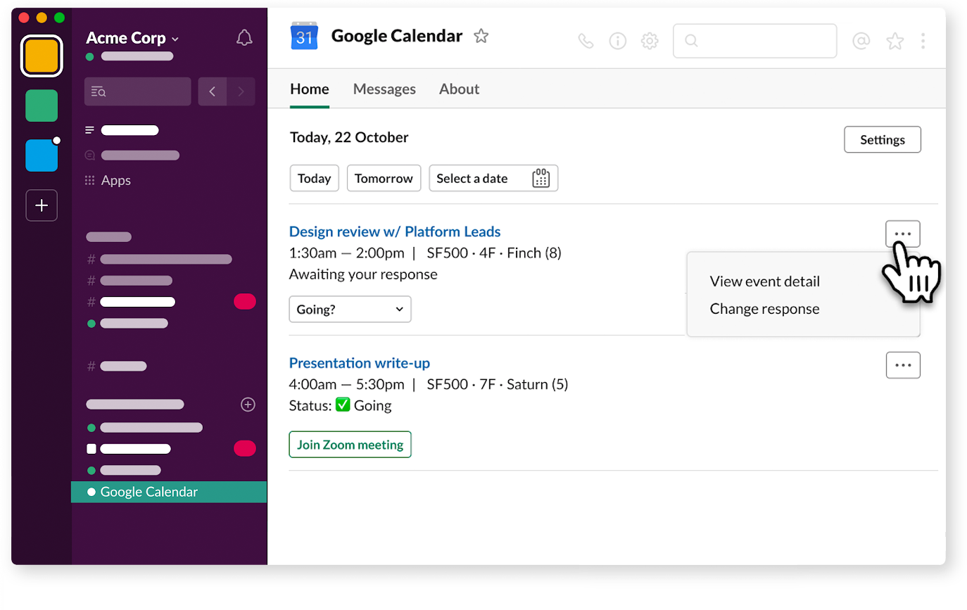 App Home in Google Calendar